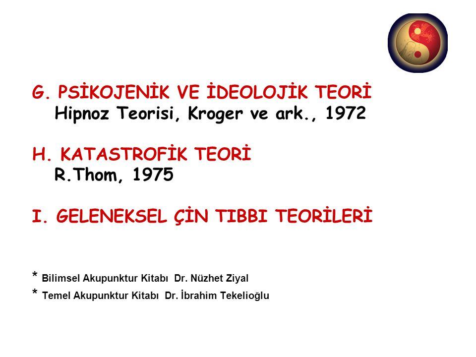 G. PSİKOJENİK VE İDEOLOJİK TEORİ Hipnoz Teorisi, Kroger ve ark., 1972