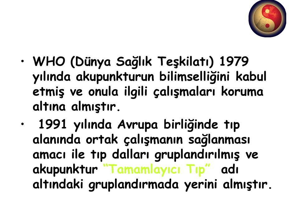 WHO (Dünya Sağlık Teşkilatı) 1979 yılında akupunkturun bilimselliğini kabul etmiş ve onula ilgili çalışmaları koruma altına almıştır.