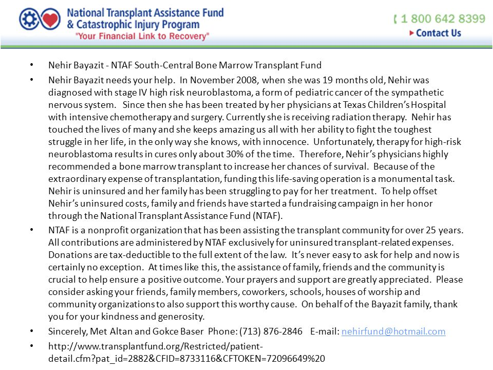 Nehir Bayazit - NTAF South-Central Bone Marrow Transplant Fund