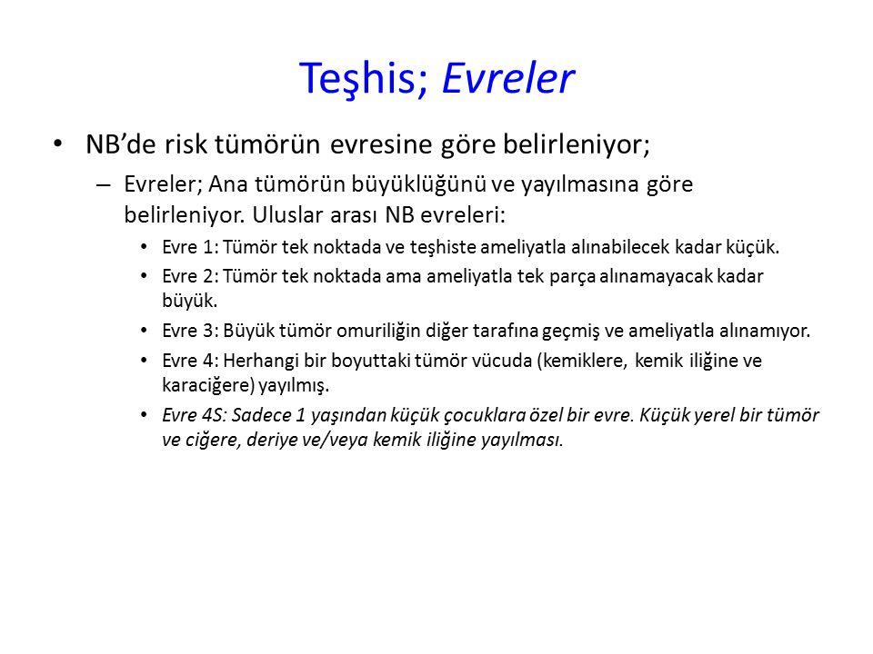 Teşhis; Evreler NB'de risk tümörün evresine göre belirleniyor;