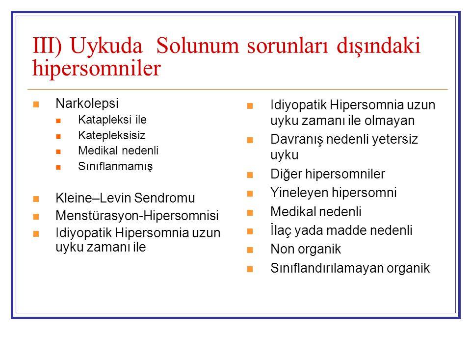 III) Uykuda Solunum sorunları dışındaki hipersomniler