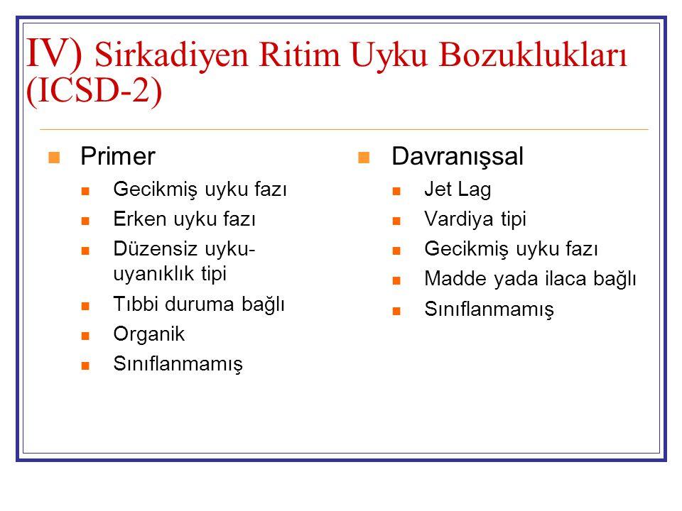 IV) Sirkadiyen Ritim Uyku Bozuklukları (ICSD-2)