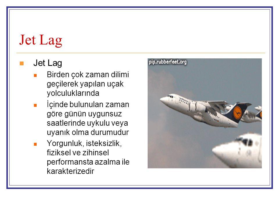 Jet Lag Jet Lag. Birden çok zaman dilimi geçilerek yapılan uçak yolculuklarında.