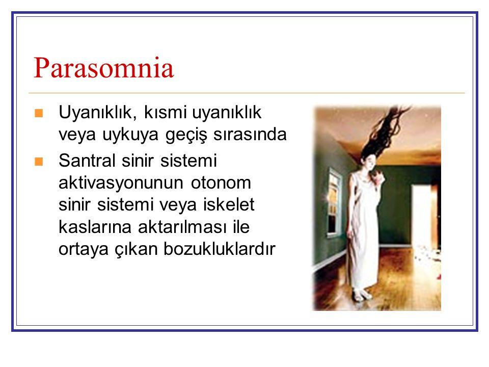 Parasomnia Uyanıklık, kısmi uyanıklık veya uykuya geçiş sırasında