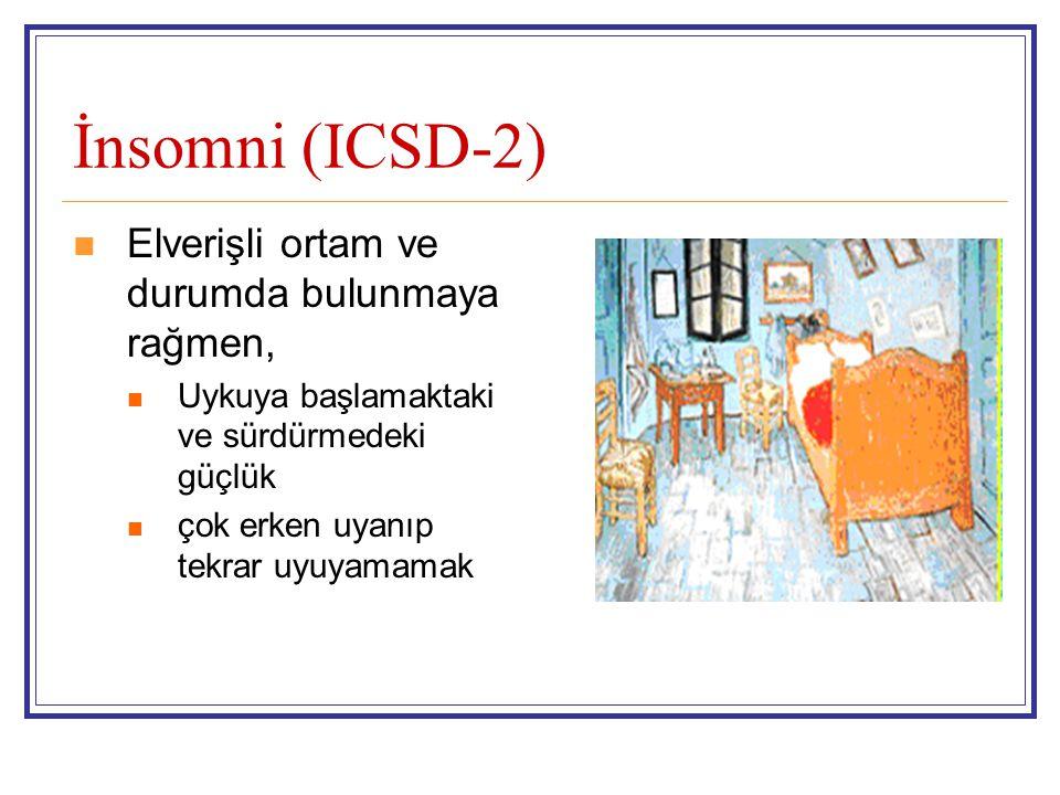 İnsomni (ICSD-2) Elverişli ortam ve durumda bulunmaya rağmen,