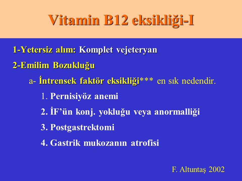Vitamin B12 eksikliği-I 1-Yetersiz alım: Komplet vejeteryan