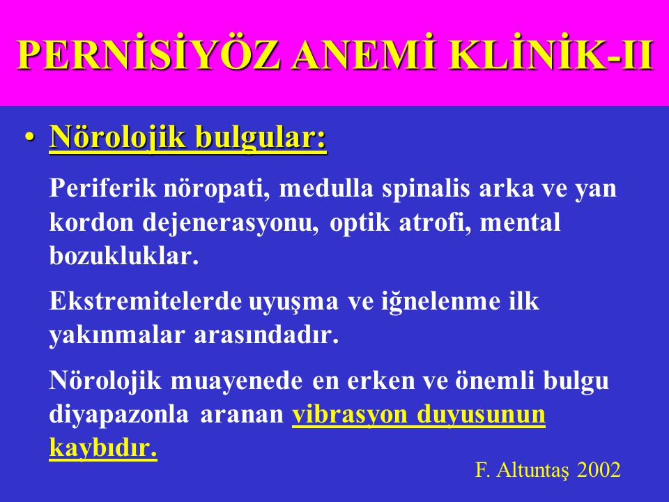 PERNİSİYÖZ ANEMİ KLİNİK-II