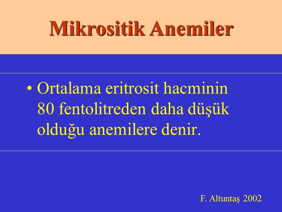 Mikrositik Anemiler Ortalama eritrosit hacminin 80 fentolitreden daha düşük olduğu anemilere denir.