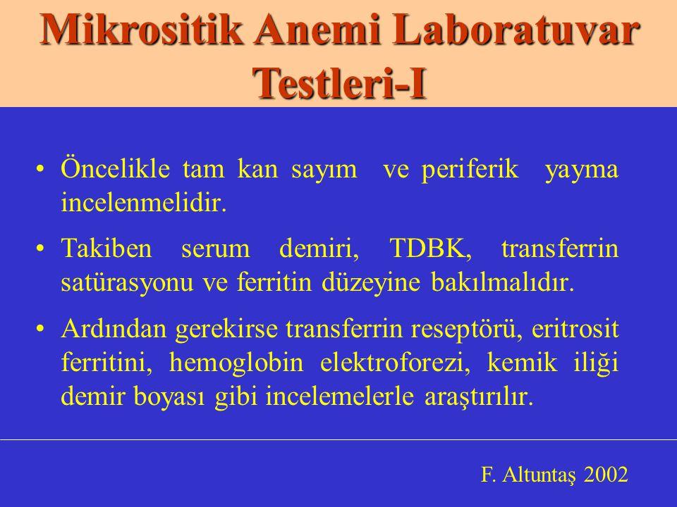 Mikrositik Anemi Laboratuvar Testleri-I