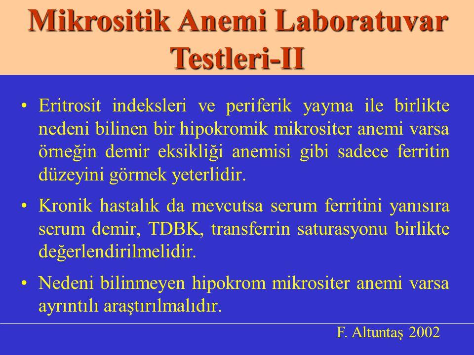 Mikrositik Anemi Laboratuvar Testleri-II