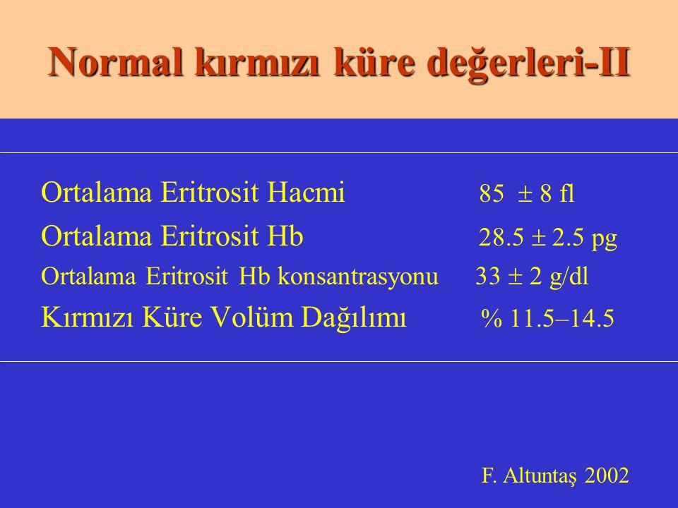 Normal kırmızı küre değerleri-II
