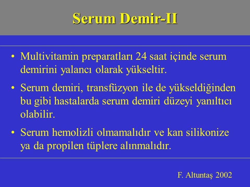 Serum Demir-II Multivitamin preparatları 24 saat içinde serum demirini yalancı olarak yükseltir.