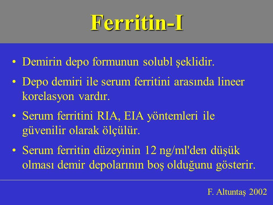 Ferritin-I Demirin depo formunun solubl şeklidir.