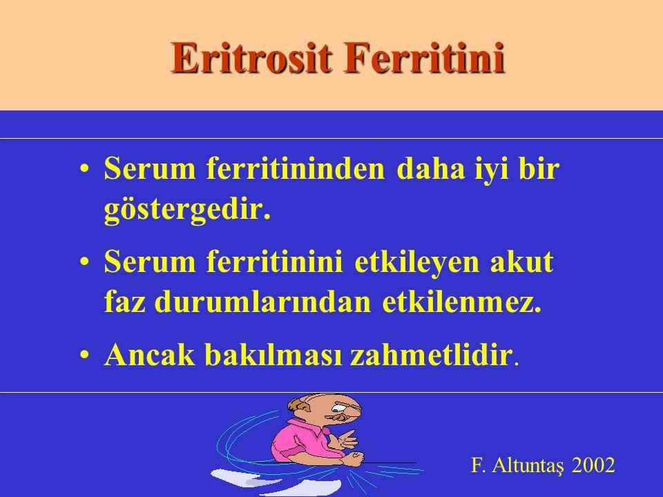 Eritrosit Ferritini Serum ferritininden daha iyi bir göstergedir.