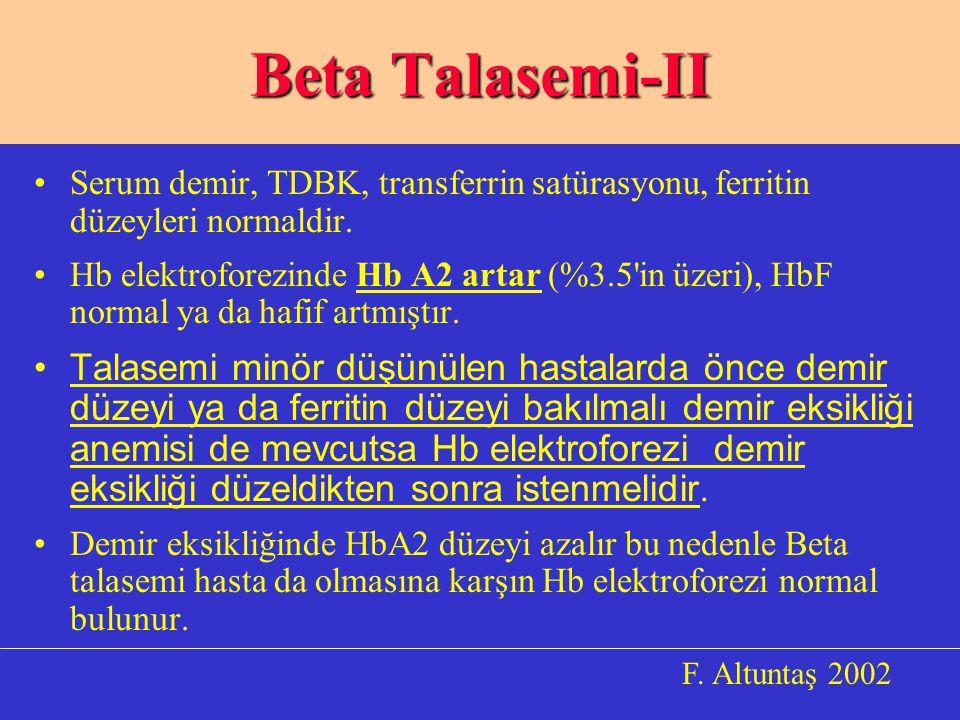 Beta Talasemi-II Serum demir, TDBK, transferrin satürasyonu, ferritin düzeyleri normaldir.