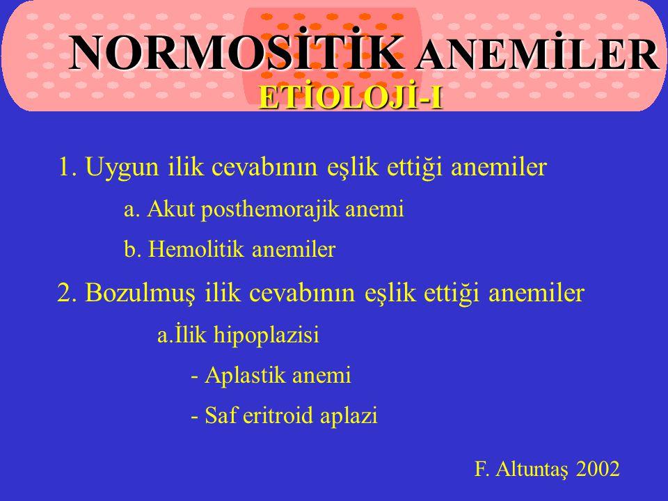 NORMOSİTİK ANEMİLER ETİOLOJİ-I