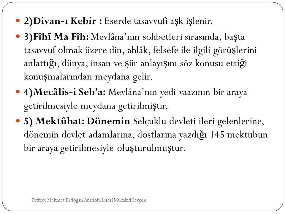 2)Divan-ı Kebir : Eserde tasavvufi aşk işlenir.