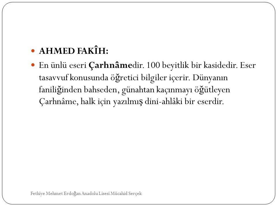 AHMED FAKÎH: