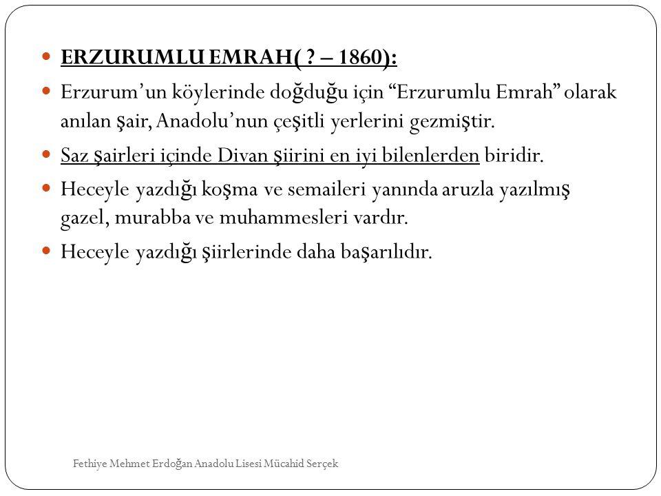 Saz şairleri içinde Divan şiirini en iyi bilenlerden biridir.