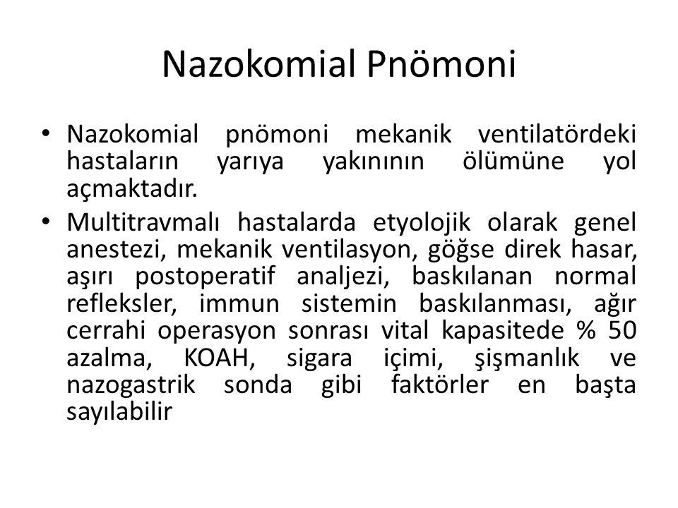 Nazokomial Pnömoni Nazokomial pnömoni mekanik ventilatördeki hastaların yarıya yakınının ölümüne yol açmaktadır.