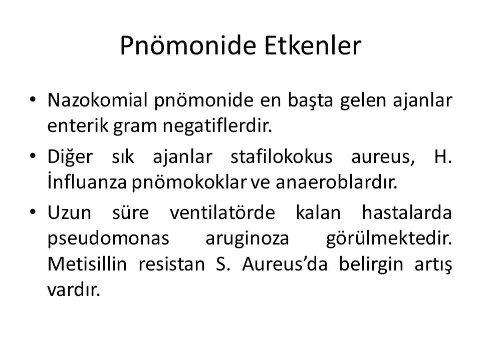 Pnömonide Etkenler Nazokomial pnömonide en başta gelen ajanlar enterik gram negatiflerdir.