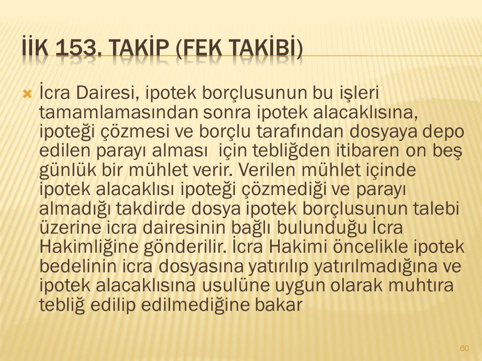 İİK 153. TAKİP (FEK TAKİBİ)