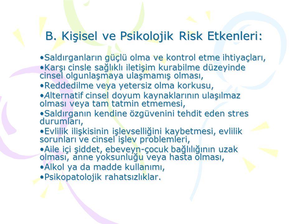 B. Kişisel ve Psikolojik Risk Etkenleri:
