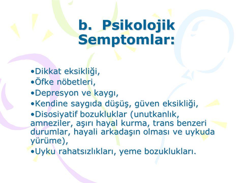 b. Psikolojik Semptomlar: