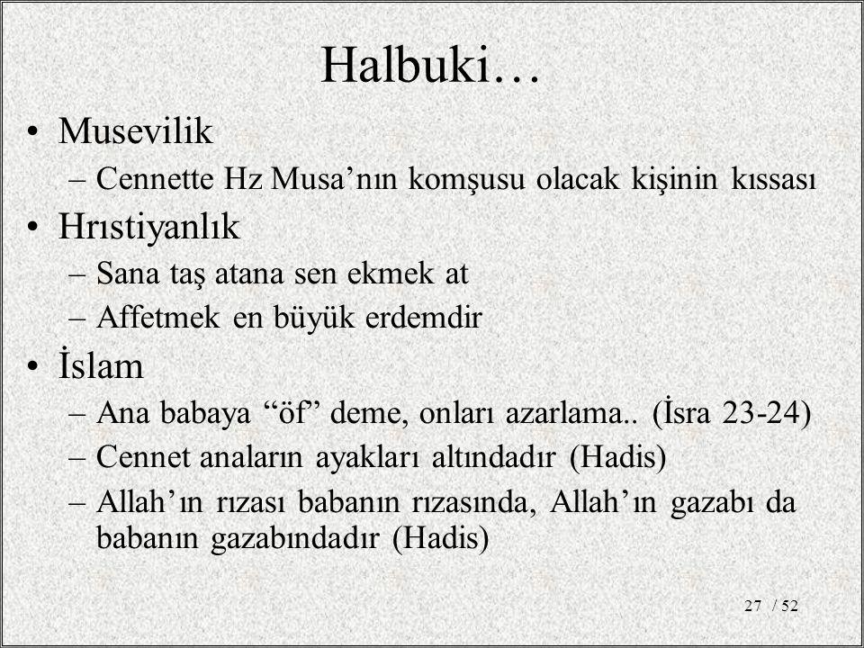Halbuki… Musevilik Hrıstiyanlık İslam