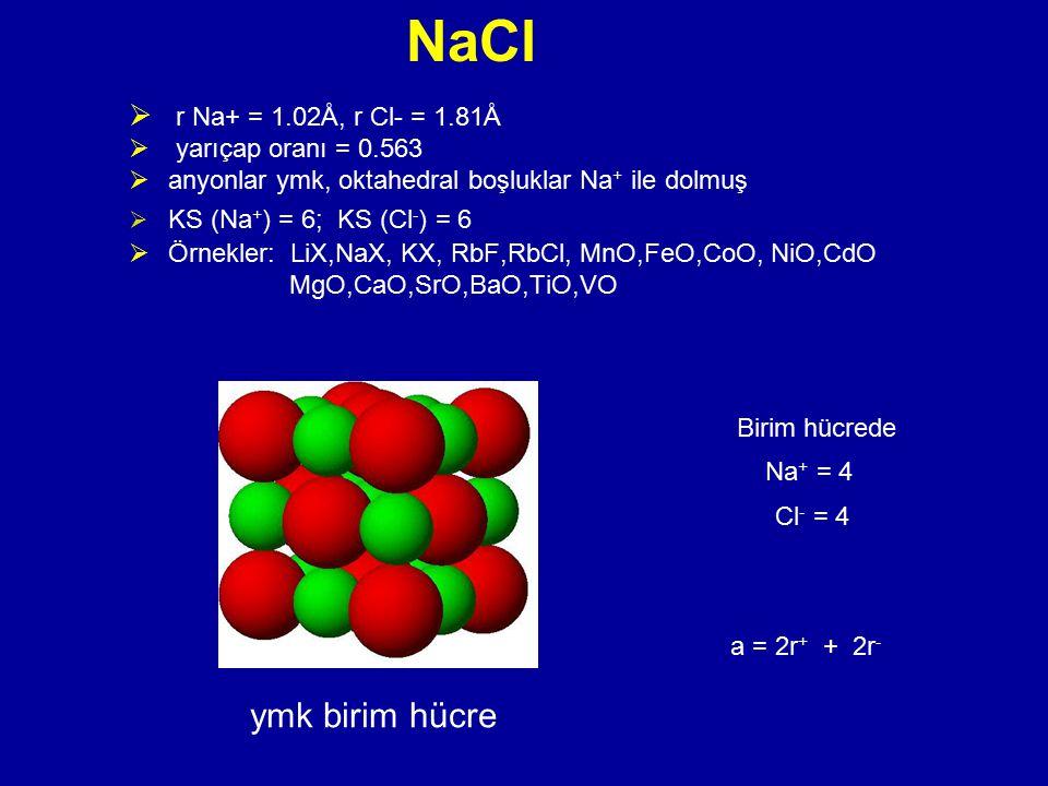 NaCl ymk birim hücre r Na+ = 1.02Å, r Cl- = 1.81Å