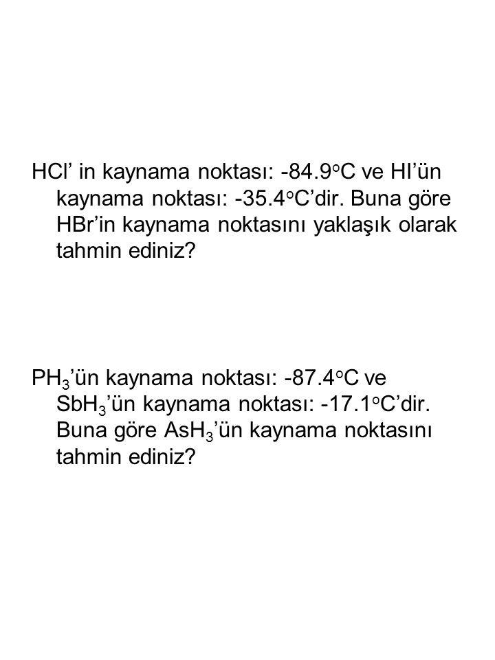 HCl' in kaynama noktası: -84. 9oC ve HI'ün kaynama noktası: -35