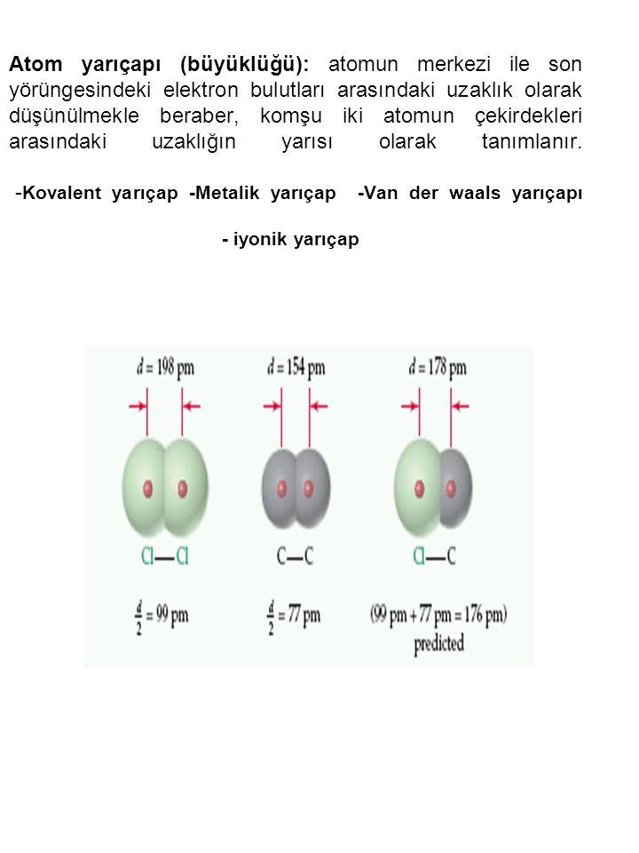 Atom yarıçapı (büyüklüğü): atomun merkezi ile son yörüngesindeki elektron bulutları arasındaki uzaklık olarak düşünülmekle beraber, komşu iki atomun çekirdekleri arasındaki uzaklığın yarısı olarak tanımlanır.