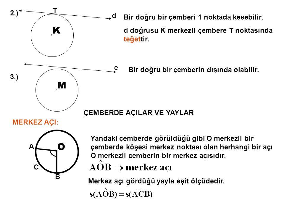 K M O T 2.) d Bir doğru bir çemberi 1 noktada kesebilir.