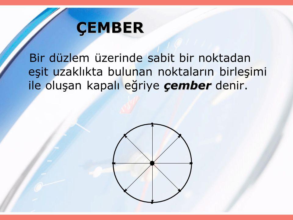 ÇEMBER Bir düzlem üzerinde sabit bir noktadan eşit uzaklıkta bulunan noktaların birleşimi ile oluşan kapalı eğriye çember denir.