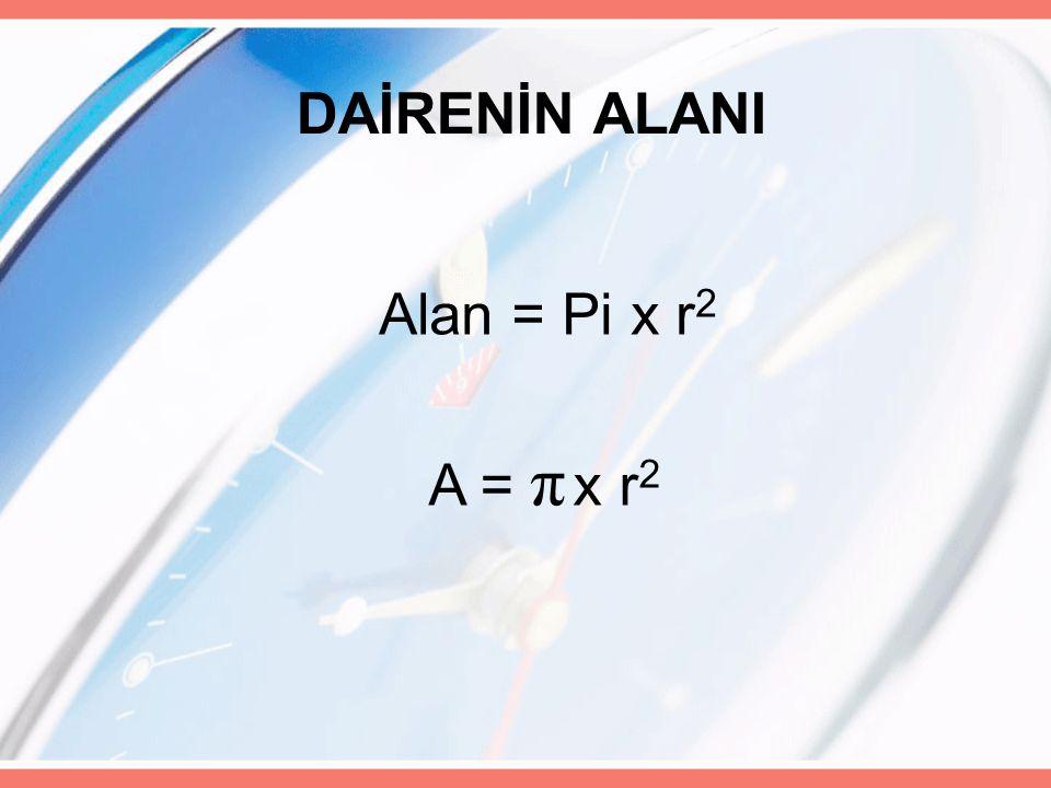 DAİRENİN ALANI Alan = Pi x r2 A = π x r2
