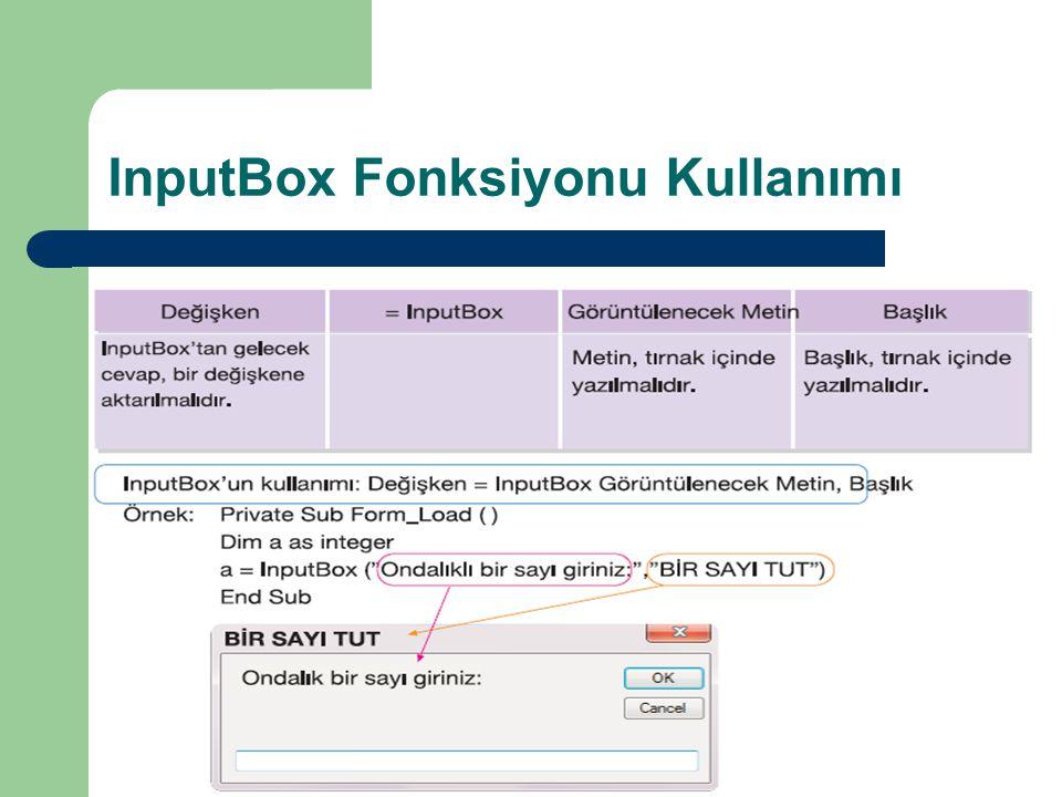InputBox Fonksiyonu Kullanımı
