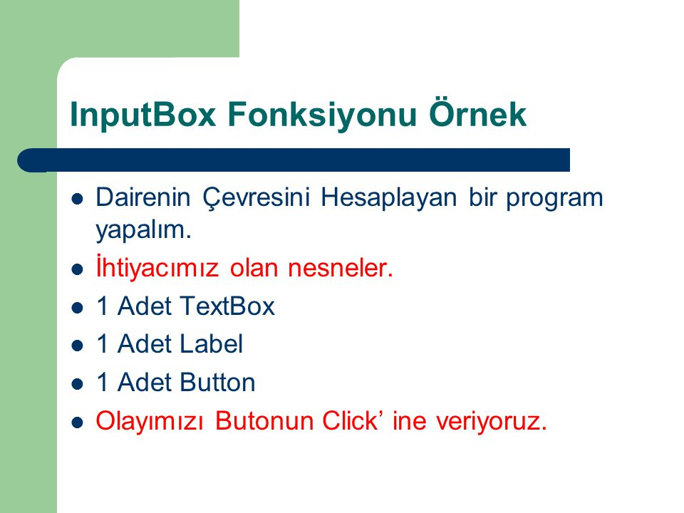 InputBox Fonksiyonu Örnek