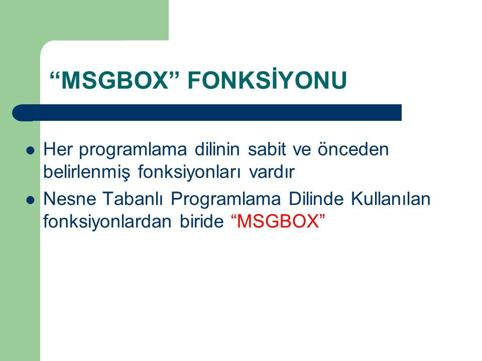 MSGBOX FONKSİYONU Her programlama dilinin sabit ve önceden belirlenmiş fonksiyonları vardır.