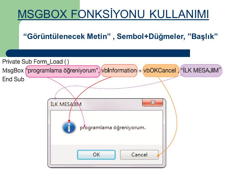 MSGBOX FONKSİYONU KULLANIMI