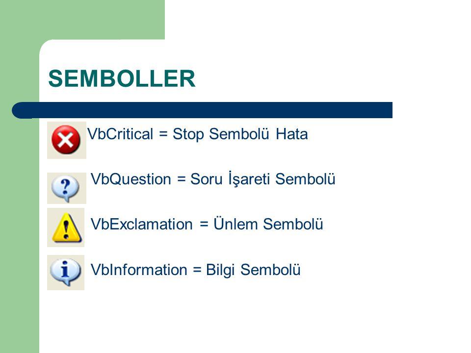 SEMBOLLER VbCritical = Stop Sembolü Hata