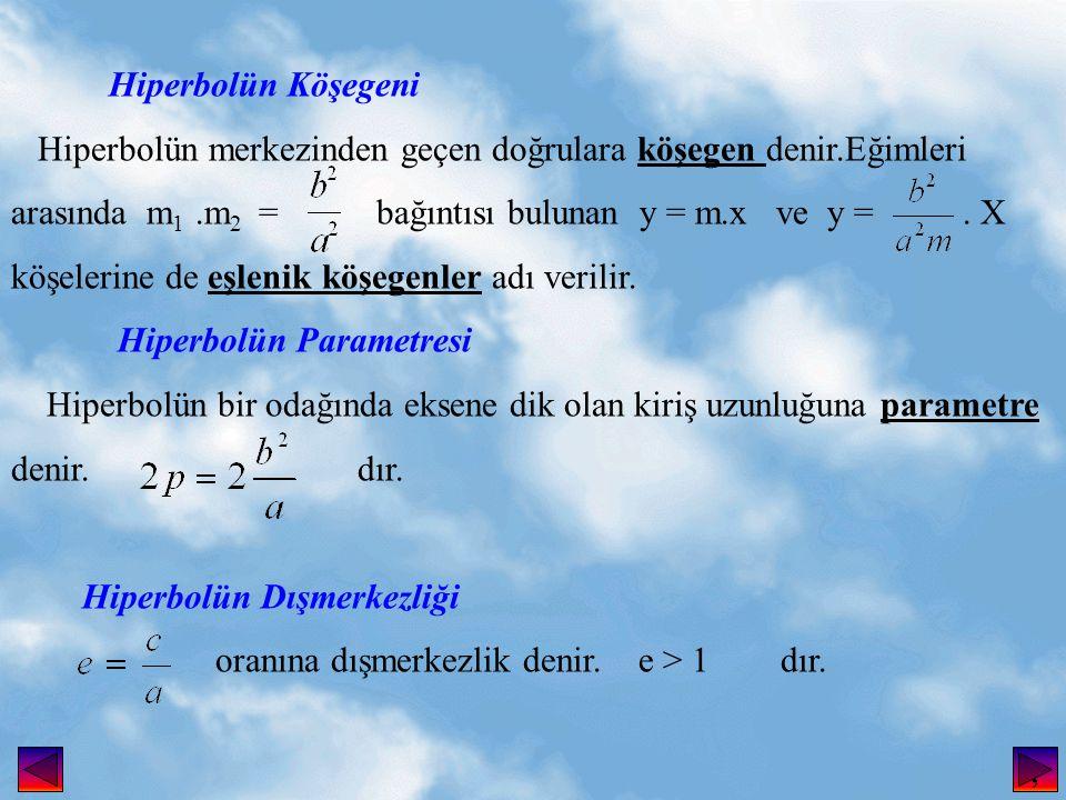 Hiperbolün Köşegeni Hiperbolün merkezinden geçen doğrulara köşegen denir.Eğimleri.