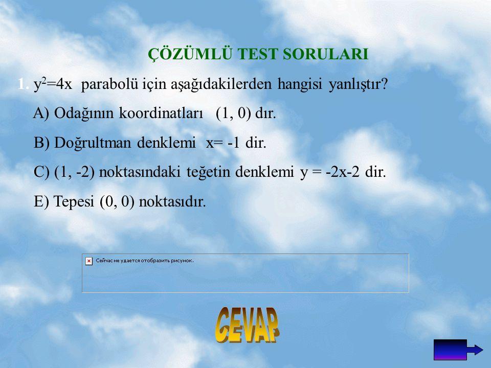 CEVAP ÇÖZÜMLÜ TEST SORULARI