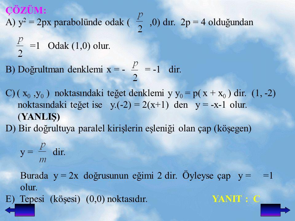 ÇÖZÜM: A) y2 = 2px parabolünde odak ( ,0) dır. 2p = 4 olduğundan. =1 Odak (1,0) olur. B) Doğrultman denklemi x = - = -1 dir.