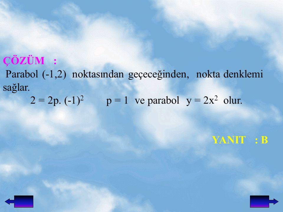 ÇÖZÜM : Parabol (-1,2) noktasından geçeceğinden, nokta denklemi sağlar. 2 = 2p. (-1)2 p = 1 ve parabol y = 2x2 olur.