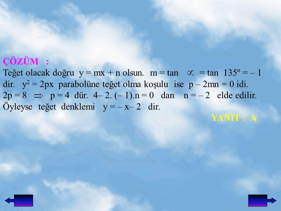 ÇÖZÜM : Teğet olacak doğru y = mx + n olsun. m = tan = tan 135º = – 1.