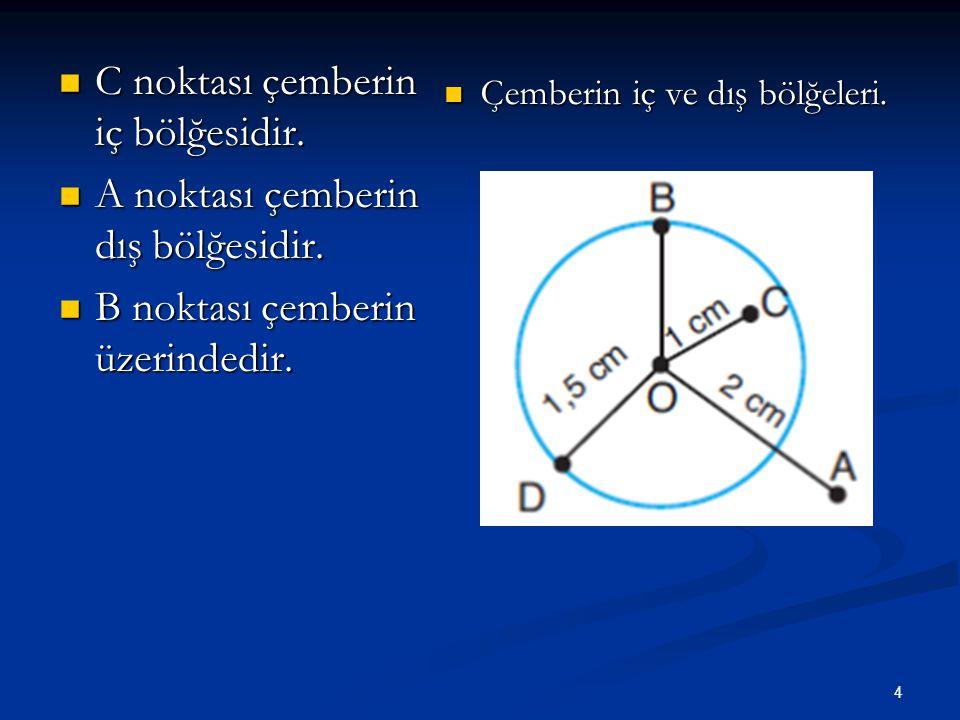 C noktası çemberin iç bölğesidir. A noktası çemberin dış bölğesidir.