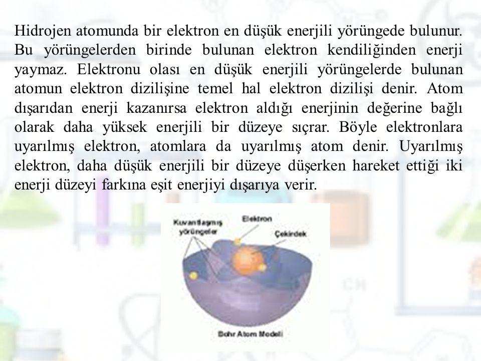 Hidrojen atomunda bir elektron en düşük enerjili yörüngede bulunur