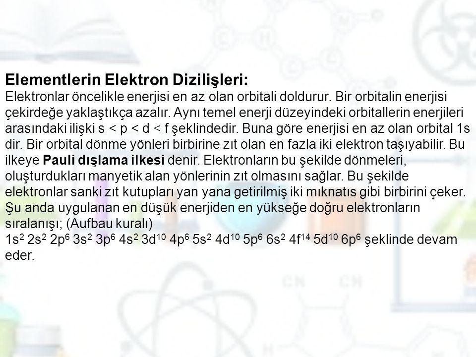 Elementlerin Elektron Dizilişleri: