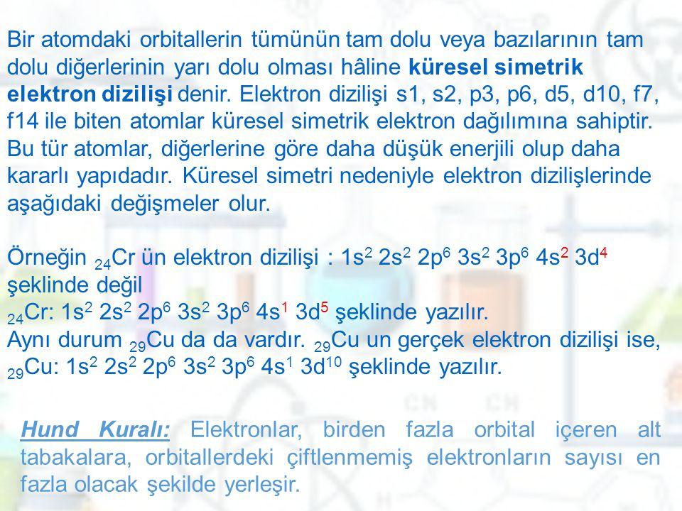 Bir atomdaki orbitallerin tümünün tam dolu veya bazılarının tam dolu diğerlerinin yarı dolu olması hâline küresel simetrik elektron dizilişi denir. Elektron dizilişi s1, s2, p3, p6, d5, d10, f7, f14 ile biten atomlar küresel simetrik elektron dağılımına sahiptir. Bu tür atomlar, diğerlerine göre daha düşük enerjili olup daha kararlı yapıdadır. Küresel simetri nedeniyle elektron dizilişlerinde aşağıdaki değişmeler olur. Örneğin 24Cr ün elektron dizilişi : 1s2 2s2 2p6 3s2 3p6 4s2 3d4 şeklinde değil 24Cr: 1s2 2s2 2p6 3s2 3p6 4s1 3d5 şeklinde yazılır. Aynı durum 29Cu da da vardır. 29Cu un gerçek elektron dizilişi ise, 29Cu: 1s2 2s2 2p6 3s2 3p6 4s1 3d10 şeklinde yazılır.