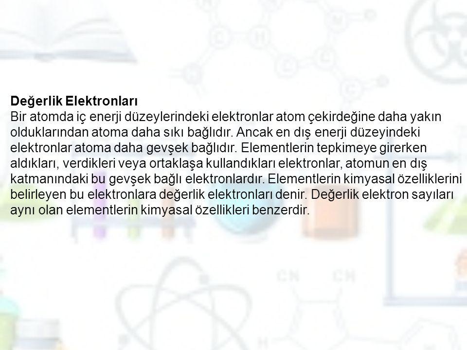 Değerlik Elektronları Bir atomda iç enerji düzeylerindeki elektronlar atom çekirdeğine daha yakın olduklarından atoma daha sıkı bağlıdır.